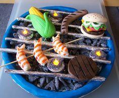 Grill Torte barbecue cake fondant - CAKES FOR FUN - Lakritz und led-Teelichter