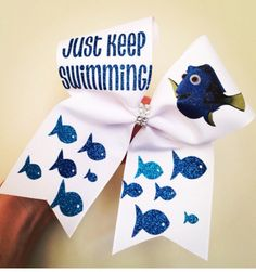 Dori Just Keep Swimming Cheer bow white with glitter details