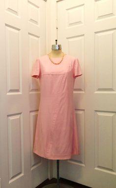 Neiman Marcus Pink Sheath Fabric Labels, Pink Shorts, Pale Pink, Neiman Marcus, 1960s, Short Sleeve Dresses, Shirt Dress, Silk, Elegant