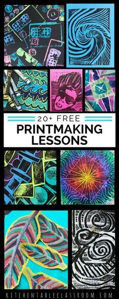Over twenty printmaking lessons with full instructions. Art lessons include Lino cut prints, sandpaper prints, fabric printing, styrofoam prints, found object printing, and more!