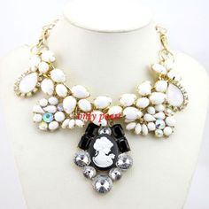 New head portrait  Statement Necklace Bubble Necklace by OnlyPearl, $28.69