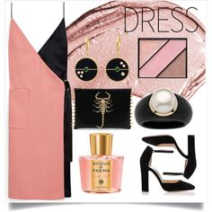 Two-Tone Dress-2 by capricat on Polyvore featuring Mode, Mulberry, Gianvito Rossi, Palm Beach Jewelry, Christian Dior, Elizabeth Arden and Acqua di Parma