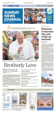 The News Journal's front page for Sunday, Sept. 27, 2015