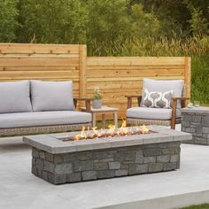 Sedona Propane Fire Table in Grey w/ Natural Gas Conversion Kit - Real Flame a durable, natural looking flagstone top and a faux stacked stone base, the Sedona Large Rectangle Gas fire table will create a dramatic focal poin Natural Gas Fire Pit, Gas Fire Pit Table, Fire Glass, Outdoor Furniture Sets, Outdoor Decor, Outdoor Ideas, Outdoor Spaces, Gas Fires, Decoration