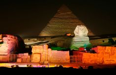The Sound & Light Show in Giza, Cairo, lights up the historic monuments
