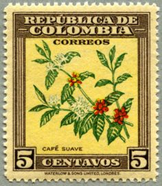 cafe, postal stamp  Colombia 1947
