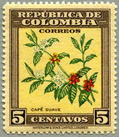 cafe, postal stamp  Colombia 1947