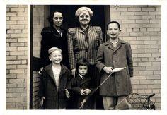 1947, Bob Jones Jr. Family.  Back row: Fannie Holmes Jones, Mary Gaston Stollenwerck Jones,  Front row: Jon Jones, Joy Jones, Bob Jones III  From Bob Jones University Digital Archives.