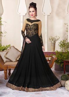 Black Georgette Floor Length Anarkali Suit 69944