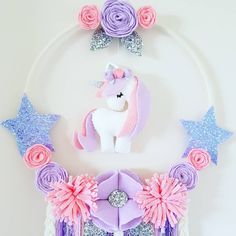 🦄Unicorn Dream Catcher🦄 With pretty pink flowers 🌸 Unicorn Crafts, Unicorn Art, Felt Flowers, Pink Flowers, Dreamcatcher Design, Baby Mobile, Felt Decorations, Felt Patterns, Unicorn Birthday Parties