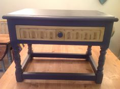 Milk and chalk paint have transformed this table with drawer.www.facebook.com/BureChic