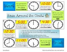 Here's a board game where students practice telling time to the hour and half hour.