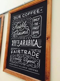 """A collection of the hand-painted lettering chalkboards I've created over the last six months. At the top, I designed over ten boards for a small recently opened coffee shop back in my home town near Birmingham. Beneath that the """"We Built This City on Bacon Rolls"""" sign is displayed happily in The Breakfast Club's Eggquarters. The following close ups are from Be At One bar, a group of cocktail bars spanning across London and some parts of England. The final designs were ..."""