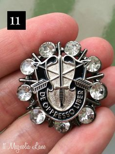 Great welcome or farewell gift for a military spouse, or for a soldier's mother!  Customized Rhinestone Embellished Military Crest by 11 Magnolia Lane