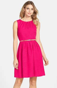 Ellen+Tracy+Belted+Herringbone+Stretch+Fit+&+Flare+Dress+(Regular+&+Petite)+available+at+#Nordstrom