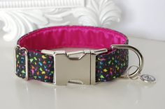 Sparkle Fabric Dog Collar  Colorful Confetti by TwistedPetDesigns, $23.00