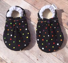 Black Polk a dot Booties, Black Moccs, Polk a dot Moccasins, black Crib Shoes, Black Cloth Shoes, Unisex Booties, Glow in the dark Moccs by DGBooties on Etsy