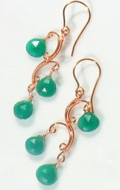 Wire Wrapped Emerald Green Chalcedony earrings