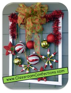 Printable File Folder Games, Other Fun Classroom Activities: Christmas Picture Frame Wreath Christmas Picture Frames, Christmas Frames, Christmas Pictures, Christmas Projects, Holiday Crafts, Christmas Holidays, Christmas Door Decorations, Christmas Centerpieces, Christmas Wreaths