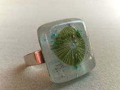 Fused Glass Ring  Lime green adjustable ring  Fused by BGLASSbcn