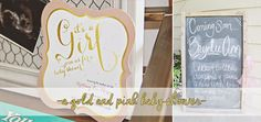 A simple pink and gold shower on a budget on www.whileitrains.com  #babyshower #pink #gold #tinyprints