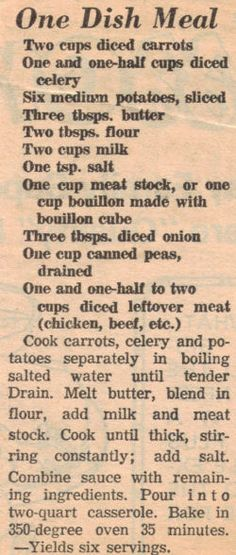 #Milk has always been at the center of a good sauce – vintage One Dish Meal newspaper clipping from recipecurio.com