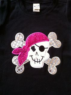 Girl Pirate Applique  Black Onesie/Tshirt by MJCustomEmbroidery, $18.00