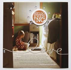 """AE - This layout (also 8×8) is a full photo background + text added in Photoshop before printing. I cut """"love"""" with the Silhouette and stamped evening on white cardstock and punched with a circle punch (adhered with foam dots to lift it off the page a bit). Stars were added around the stamped circle."""