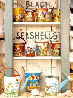 Love this display of vintage pails