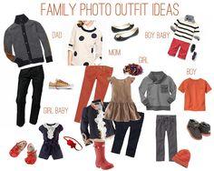 Family photo - orange, gray, black, cream