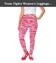 Team Tights Women's Leggings Medium Red and White. The ultimate in gameday spirit wear, these leggings scream team spirit with their tiger print black and gold stripes! both comfortable and versatile, pair these tight pants with a matching top in your team's colors. Dress them down with sneakers or flip flops, or dress them up with boots or heels. These tights flatter your body with refined details: a wide waistband minimizes your midsection while contrast stitching down the legs creates...