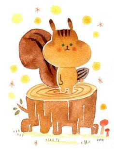 リスくん|絵画・イラスト|ハンドメイド・手仕事品の販売・購入 Creema(クリーマ) Squirrel Illustration, Cute Illustration, Graphic Design Illustration, Watercolor Illustration, Cute Animal Drawings, Cute Drawings, Painting For Kids, Art For Kids, Drawing Skills