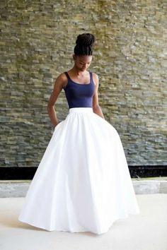 Mélange Mode White Satin Skirt by MelangeMode on Etsy