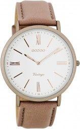 Oozoo Ultra Slim Vintage Uhr C7709 - rosagrau/rose - 40 mm - Lederband