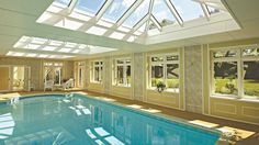 Conservatory With Indoor Swimming Pool - Design by Parish Conservatories Swimming Pool Enclosures, Indoor Swimming Pools, Swimming Pool Designs, Dream Home Design, House Design, Skylight Shade, Building A Pool, Outdoor Rooms, Outdoor Living