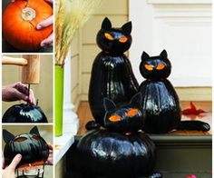 Create a spooky trio of glossy black cats to watch over trick-or-treaters at your door.   Instructions--> http://wonderfuldiy.com/wonderful-diy-amazing-pumpkin-carving/#
