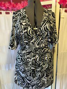 Women's American City Wear Plus Size Black White Tie Blouse 2XL | eBay