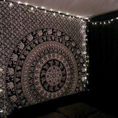 Black and White Elephant Mandala Tapestry 01
