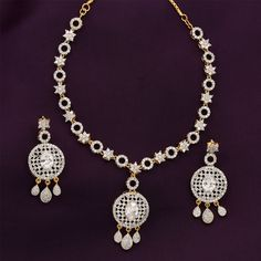 Look Stunning in this AD Necklace Set, perfect for the contemporary women! https://www.shreehari.co/ad-cz/necklace.html #AmericanDiamond #Jewelry ShreeHari Jewellers