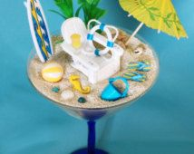 Yellow Blue Beach Miniature Terrarium / Tropical Drink Glass / Martini Zen Garden / Desktop Dollscale Diorama / Gift / Home Office Decor
