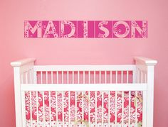 kik2342 Wall Decal Sticker a beautiful girl's name letters over the crib children's bedroom