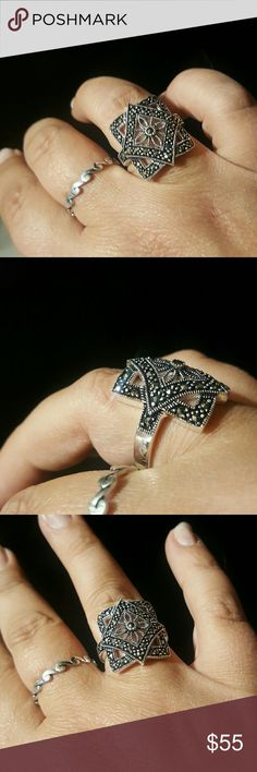 Marcasite ring size 9 Size 9. Silver plated. Won't turn your fingers. boutique Jewelry Rings