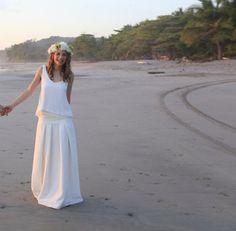 Robe de mariée en soie et dentelle, top + jupe longue