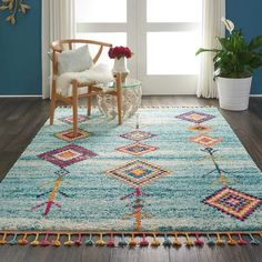 Bungalow Rose Wayne Moroccan Tribal Blue/Beige Area Rug Rug Size: Rectangle x Beige Area Rugs, Rug Styles, Tribal Rug, Joss And Main, Rugs, Colorful Moroccan Rugs, Blue Tribal, Beautiful Rug, Area Rugs