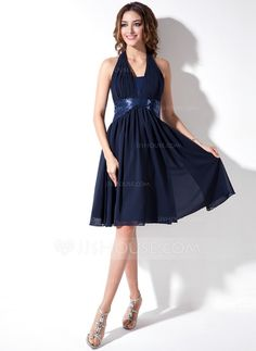 A-Line/Princess Halter Knee-Length Chiffon Sequined Homecoming Dress With Ruffle (022020628)