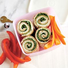 Turkey and Swiss Pinwheels | MyRecipes.com These turkey and swiss roll ups are perfect for packing kids' lunches.