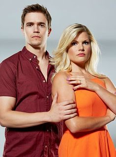 Nic and Home And Away cast mate Bonnie Sveen, who plays Ricky Sharpe, pose for a cover shoot.