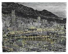 Monte Carlo in the evening - drawings and paintings by Stephen Wiltshire MBE