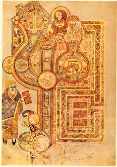 Livro de Kells. É um dos mais suntuosos manuscritos iluminados que restaram da Idade Média. Em razão de sua grande beleza e da excelente técnica do seu acabamento, este manuscrito é considerado por muitos especialistas como um dos mais importantes vestígios da arte religiosa medieval. Na foto o Fólio 29 que contém o incipit do Evangelho segundo São Mateus, chamado Liber generationis.  – Wikipédia, a enciclopédia livre.