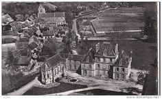 France - 91 CHALO Saint MARD CPSM Photo Bromure Vue aérienne Maisons du VILLAGE EGLISE Château à travers CHAMPS